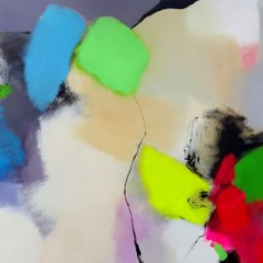 Summer Abstract I is a colourful Original acrylic painting from abstract artist Natasha Barnes.