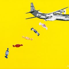 Joe-Webb-Candy-Bomb-art-urban-plane-bombs-sweets-wrappers-limited-edition-print-Yellow-air-force-bomber-plane