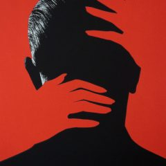 Joe-Webb-Embrace-Red-art-urban-Original-silkscreen-screenprint-painting-head-hands