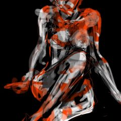 judith brenner ipad digital print art female nude iii limited edition black white red