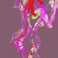 judith brenner ipad digital print art female nude jenny limited edition red purple, graffiti