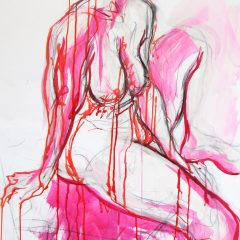 judith brenner mixed media art female nude ix original acrylic ink pastel pink