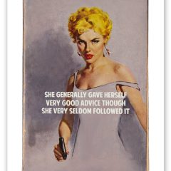 Connor-Brothers-Good-Advice-mixed-media-limited-edition-print-blonde-woman-gun-she-generally-gave-herself-though-very-seldom-followed-it