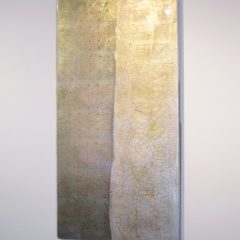 Claire-Burke-Silver-gold-leaf-mixed-media-blue-panel-original-art-crackle