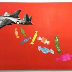 joe-webb-candy-bombe-red-original-art-artwork-aeroplane-sweets