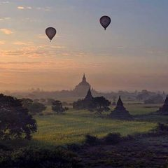 barry cawston perfect flight sunrise hot air balloons landscape burma