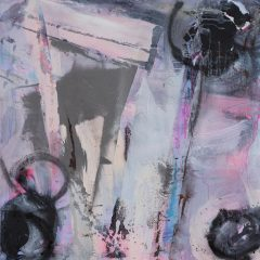 judith brenner beyond the brisons abstract landscape acrylic mixed media original art artwork grey pink