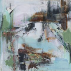 judith brenner walking to forget abstract landscape acrylic mixed media original art artwork green blue