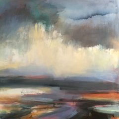 Henrietta stuart distance scotland hills multicoloured abstract landscape oil painting