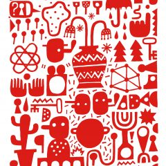 David Shillinglaw Street Artist limited edition print Croutons Floating in Cosmic Soup Red