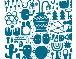 David Shillinglaw Street Artist limited edition print Croutons Floating in Cosmic Soup Blue