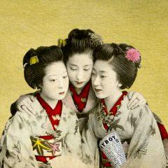 Gavin Mitchell East Meets West PlayBoy Playgirls japanese school girls in kimonos reading playboy