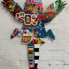 Turner Barnes Gallery Lhouette Original Acrylic and Aerosol on Wood with High Gloss Resin Angel Cake - Donald