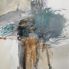 Natasha Barnes Original Abstract Art on Paper Between The Blue