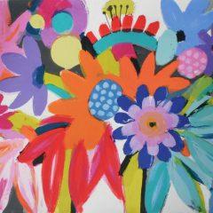 Tessa Pearson original monotype on paper Coral Dahlia Carnival