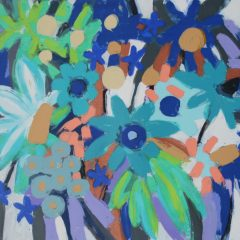 Tessa Pearson original monotype on paper Majorelle Blue Garden Delights 2