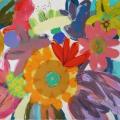 Tessa Pearson original monotype on paper Orange Dahlia Carnival