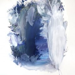 Oceanic watercolour painting by Beatriz Elorza on paper soft aquamarine blue and navy