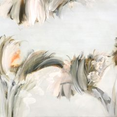 Flora painting by Beatriz Elorza on canvas soft khaki and pale whites