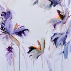 Floral watercolour painting by Beatriz Elorza on paper soft lilac deep purples abstract