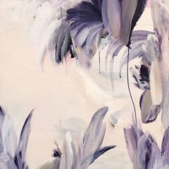 Flora painting by Beatriz Elorza on canvas soft lilacs and pale whites