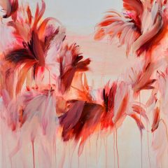Floral watercolour painting by Beatriz Elorza on paper firery reds deep pinks abstract