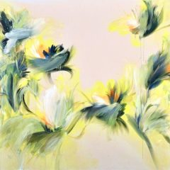 Floral watercolour painting by Beatriz Elorza on paper bright yellow dark green abstract