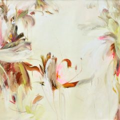Floral watercolour painting by Beatriz Elorza on paper bright pink light khaki abstract