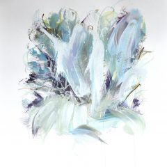 Floral watercolour painting by Beatriz Elorza on paper soft blues light green abstract