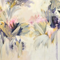 Floral watercolour painting by Beatriz Elorza on paper soft pink light green dark purple abstract