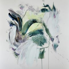 Floral watercolour painting by Beatriz Elorza on paper soft whites dark green abstract