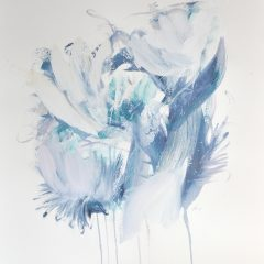 Floral watercolour painting by Beatriz Elorza on paper soft blue abstract