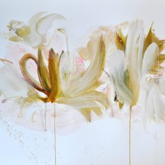 Floral watercolour painting by Beatriz Elorza on paper soft greens abstract