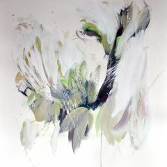 Floral watercolour painting by Beatriz Elorza on paper soft green abstract