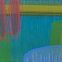 Abstract Art by Charlotte Cornish Bold reds Bright blues Grass green