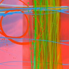Abstract Art by Charlotte Cornish Bold reds Bright green Bright blue Pink and Red background