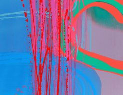 Abstract Art by Charlotte Cornish Deep vibrant blue Bright pink Pastel green and pink