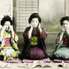 Japanese style art by Gavin Mitchell neon greens Bright pinks Playboy magazines Geisha Girls