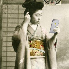 Japanese style artwork by Gavin Mitchell Bright gold Selfie Iphone golden apple Geisha Girl