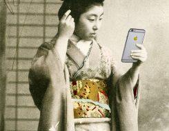 Japanese style artwork by Gavin Mitchell Bright gold Selfie Iphone golden apple Geisha Girl