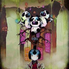 Japanese manga art by Tom Lewis neon pink dusty brown pandas