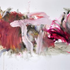 Floral watercolour painting by Beatriz Elorza on paper deep pink soft whites abstract
