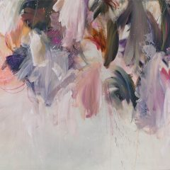 Floral watercolour painting by Beatriz Elorza on paper light pinks soft lilac abstract
