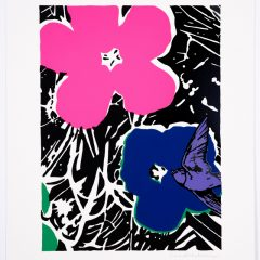 Silkscreen print of two big colourful flowers and bird flying with monochrome background