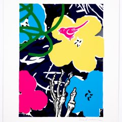 Silkscreen print of two big colourful flowers, skeletal hand and bird tweeting with monochrome background