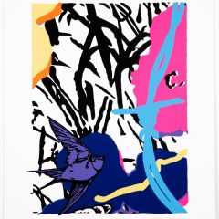 Silkscreen print of two big colourful flowers and bird flying with blue barbed wire monochrome background