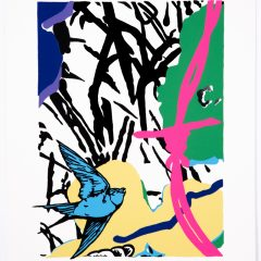 Silkscreen print of two big colourful flowers and bird flying with pink barbed wire monochrome background