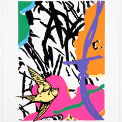 Silkscreen print of two big colourful flowers and bird flying with purple barbed wire monochrome background