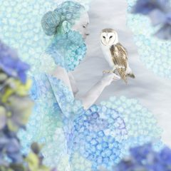 A limited edition body paint installation and photography piece by artist, Emma Hack. Woman painted with different shades of blue flowers holding an owl with matching flowers and colours in the background