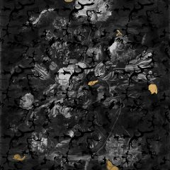 About The Dead Either Well Or Living - B&W is a limited edition made by pigment ink, 24k gold leaf on cotton rag and archival paper. Floral patters are in black and white and the butterflies are made out of gold leaf
